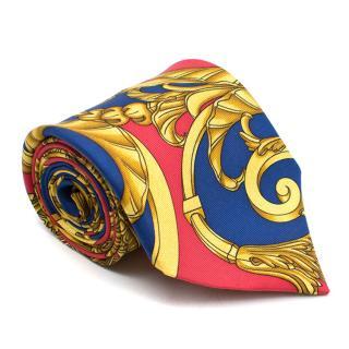 Hermes Red Gold & Blue Patterned Silk Tie