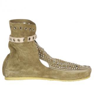 Isabel Marant studded suede moccasin style Morley loafer/boots