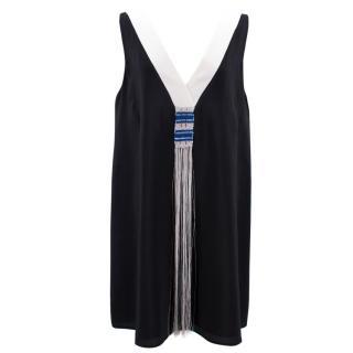 Zeus + Dione Silk Crepe de chine V-neck Tassel Dress