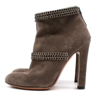 Alaia Brown Suede Chain Detail Boots