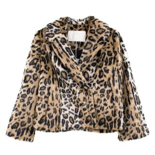 Notes Du Nord Diana Leopard Print Faux Fur Jacket
