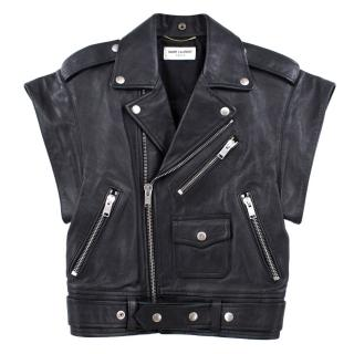 Saint Laurent Black Leather Short Sleeved Jacket