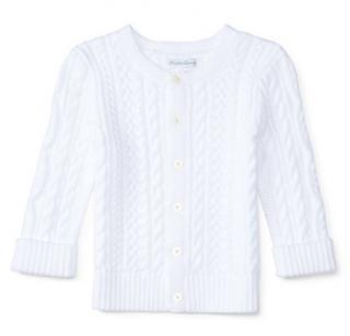 Ralph Lauren white aran-knit kids cotton cardigan