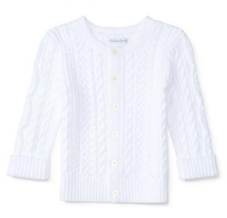Ralph Lauren white aran-knit kids cotton cardigan