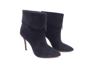 Aperlai leather-trimmed suede ankle boots
