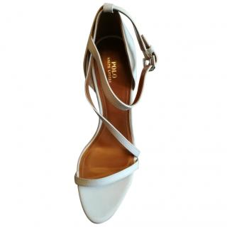 Polo Ralph Lauren White Leather Heeled Sandals