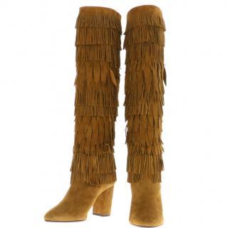 AQUAZZURA Fringed Camel BOOTS