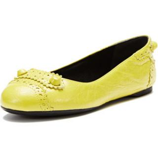Balenciaga ballerina yellow leather flats uk7.5 eu40.5