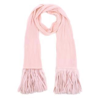 Luisa Spagnoli pink wool fringed scarf