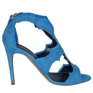 Rupert Sanderson Estelle Blue/Azure suede caged sandals High Heel