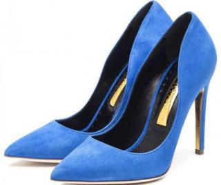 Rupert Sanderson Calice Blue Suede Heel Pumps