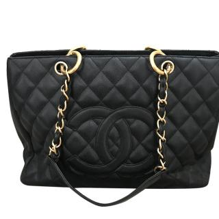 Chanel Grand Shopping Tote Black Caviar Gold Hardware