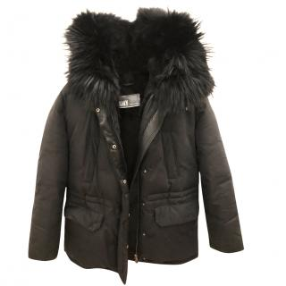 Yves Salomon Black Parka with black marmot and rabbit fur