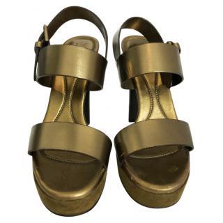 YSL Metallic Bronze Platform Sandals