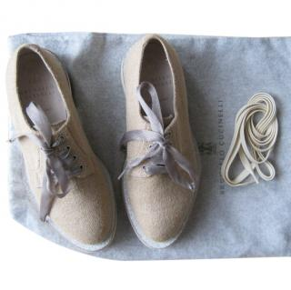 Brunello Cucinelli lace up flats with silk laces