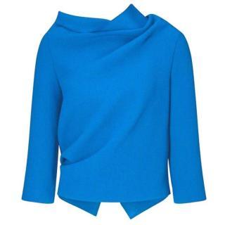 Roland Mouret Women's Blue Draped Wool Top