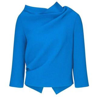 Roland Mouret Women's Blue Draped Wool Top