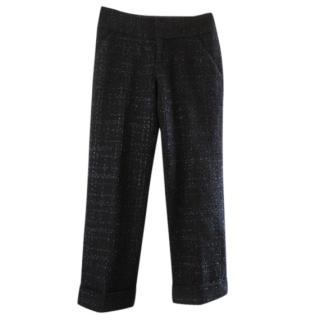 Rohmir black turn up tweed trousers