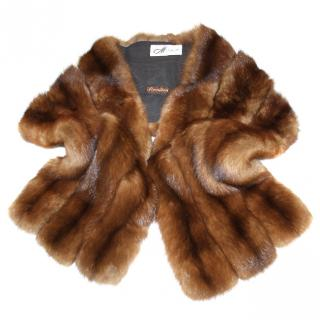 Revillon Real Sable Fur Stole Wrap Cape Shrug Throw