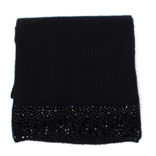 William Sharp Black  Cashmere Scarf with Embellishment