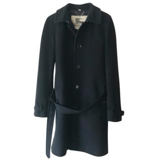 Burberry Navy Blue Wool and Cashmere Coat