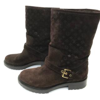 Louis Vuitton Suede Monogram Boots