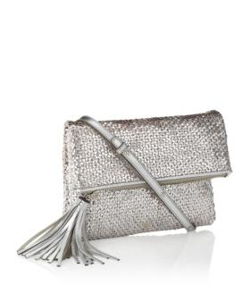 Anya Hindmarch woven silver clutch