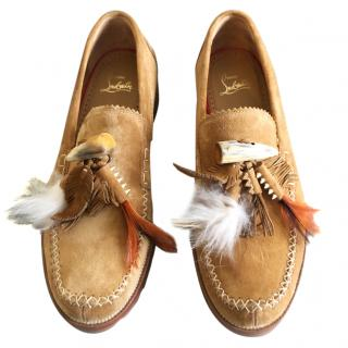 Christian Louboutin suede/feather loafers