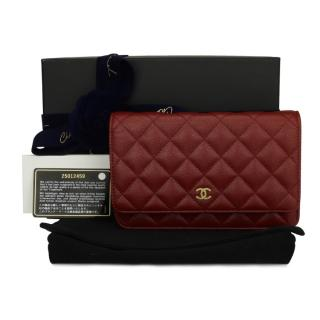 CHANEL Burgundy Iridescent Caviar Wallet On Chain