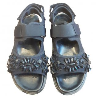 Marni crystal embellished black sandals