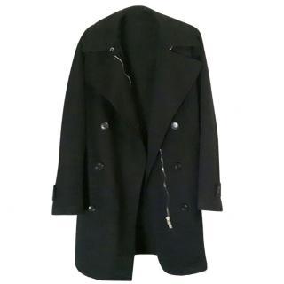 MIU MIU Womans Black Trench coat with Vegan Coco Fur lining