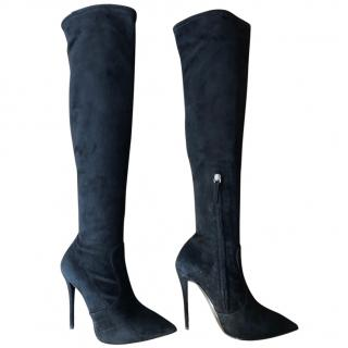Giuseppe Zanotti Black Suede Over Knee Boots