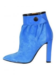 Balenciaga gathered suede blue ankle boots