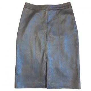 Loro Piana dark brown leather mid-length skirt