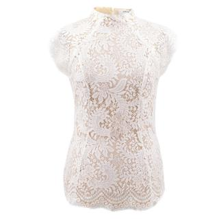 Lover White Short Sleeve Lace Top