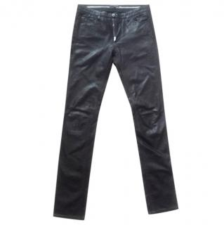 Sykes black leather trousers