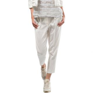 Brunello Cucinelli white silk blend trousers