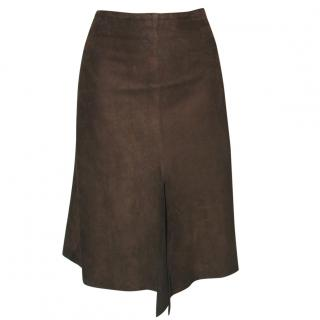 JOSEPH dark brown suede skirt, size L