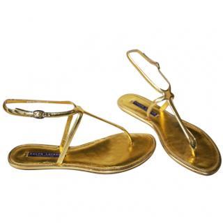 Ralph Lauren Collection Gold Strappy Sandals