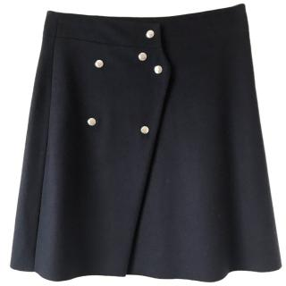 Acne Navy Blue Coin Wool Wrap Skirt