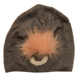 Fendi Grey Hat with Pom Pom
