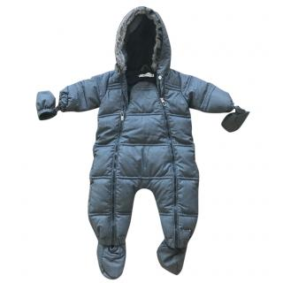 Baby Dior Unisex Down Padded Grey Baby Snowsuit with Fur