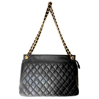 Chanel vintage black quilted leather shoulder  bag
