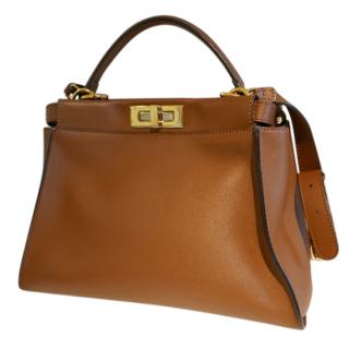 Fendi Peekaboo regular size brown tote with mint leather lining