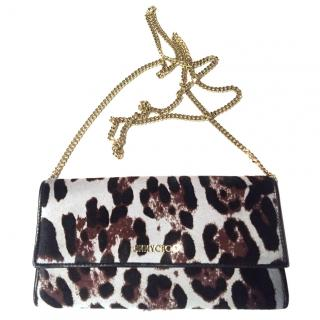 Jimmy Choo leopard print wallet on a chain