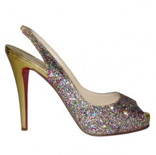 Christian Louboutin glitter peeptoe sandals