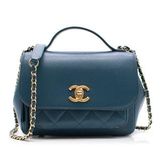 Chanel Mini Quilted Blue Leather Flap Bag