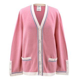 Chanel Pink Cashmere V-neck Cardigan