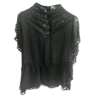 Iro black embroidered top