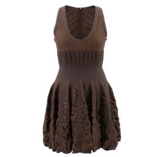Alaia Mid-length Chocolate Brown Skater Dress